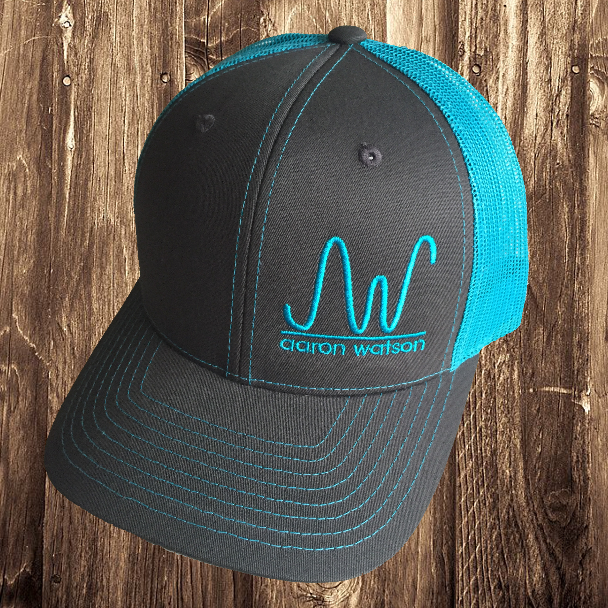 Neon Blue AW Brand Trucker hat