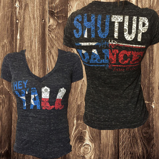 Ladies Hey Yall Shut Up and Dance V-Neck